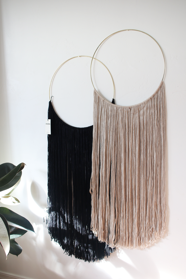 Sonadora Black Bamboo Silk Blend Polished Brass Wall Hanging