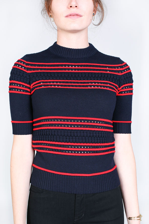 Suno Short sleeve pointelle stripe sweater in navy