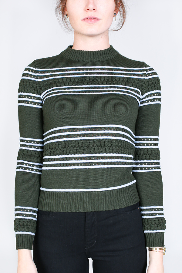 Suno Pintuck crewneck pullover in olive