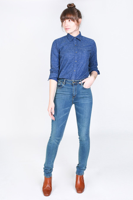 Vert & Vogue Laura Button-Up in Navy Speck