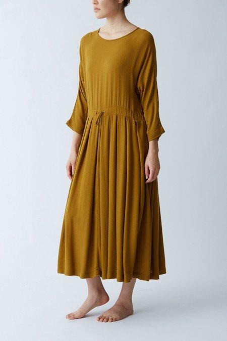 Black Crane Pleated Dress - Gold