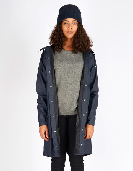 Rains Long Jacket Women's Blue
