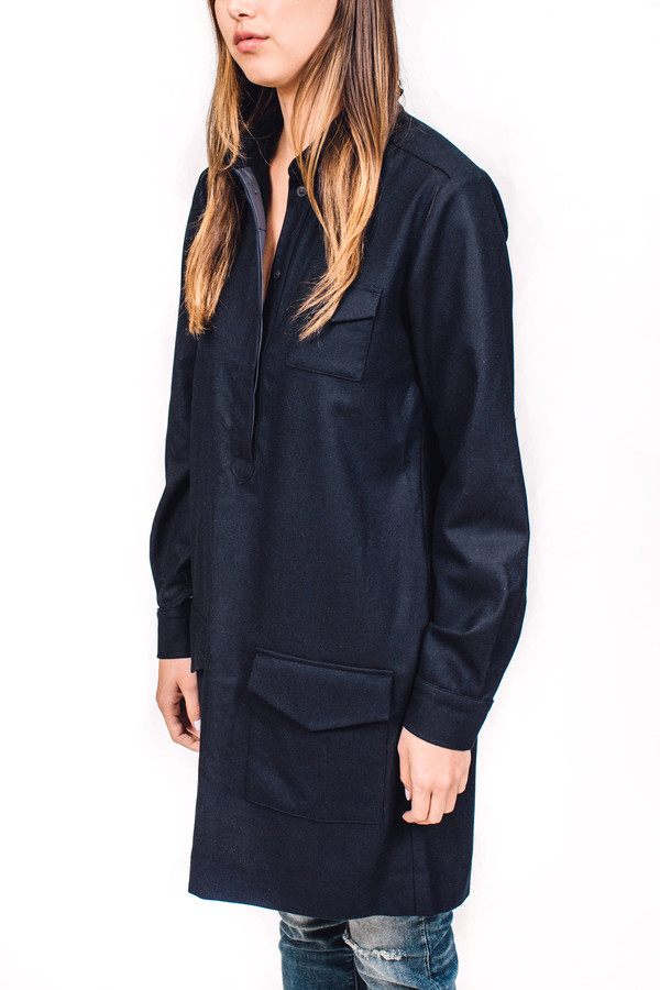 YMC Wool Shirt Dress Navy