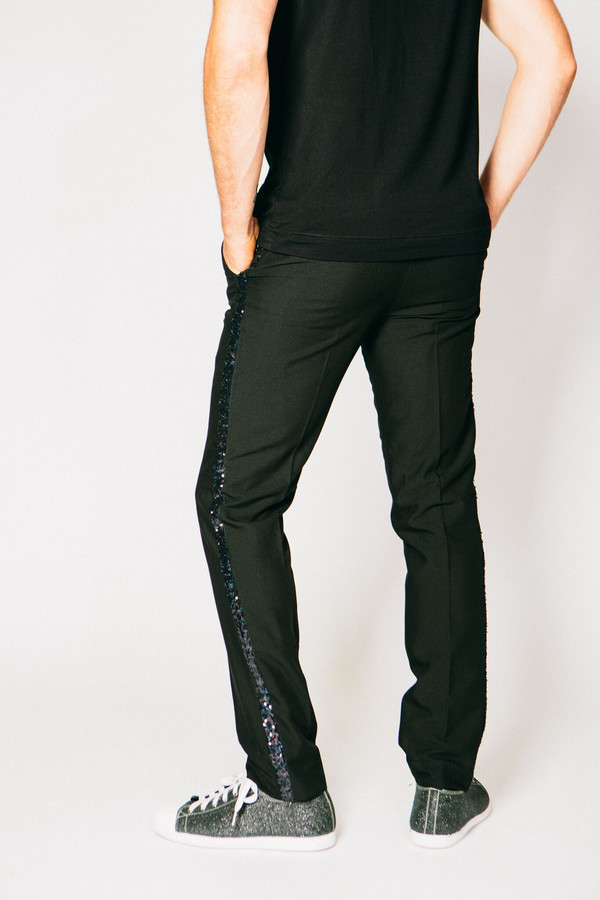 Men's Any Old Iron Sequined Stripe Trousers