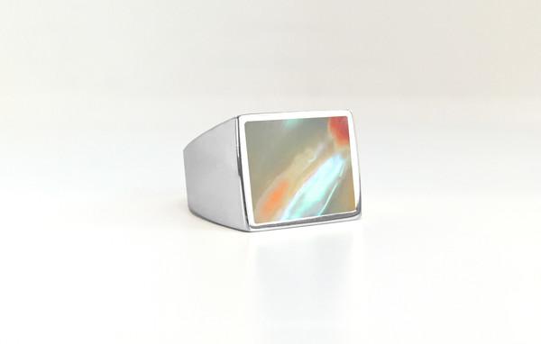 Legier Abalone Stone Signet Ring