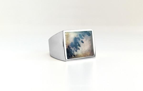 Legier Moss Agate Stone Signet Ring