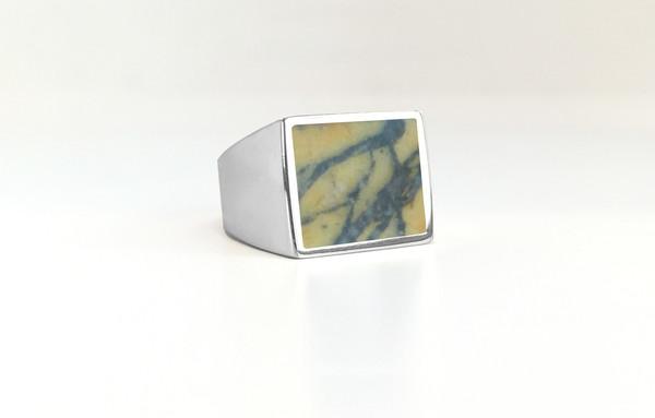 Legier Picasso Yellow Jasper Stone Signet Ring
