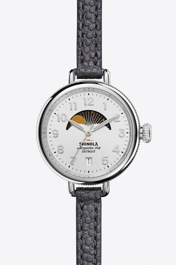 Shinola The Birdy 34mm Moon Phase Watch in Silver/Navy