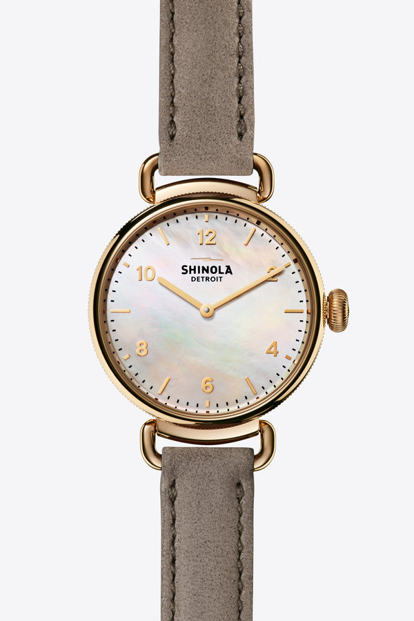 Shinola The Canfield 32mm Watch in Mother of Pearl/Spruce Green