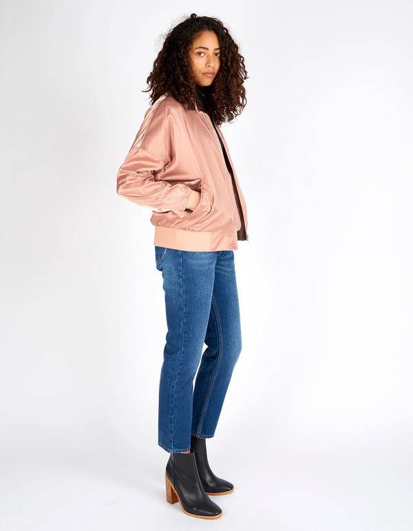 Neuw Satin Bomber Dirty Pink