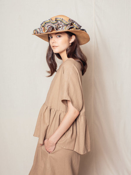Brookes Boswell Long Pleat Canna Straw Hat