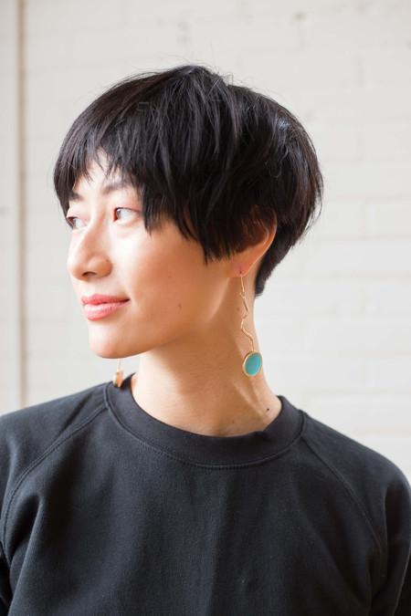 Studio Sophia Sophia Squiggle Earrings (Blue and Light Peach)