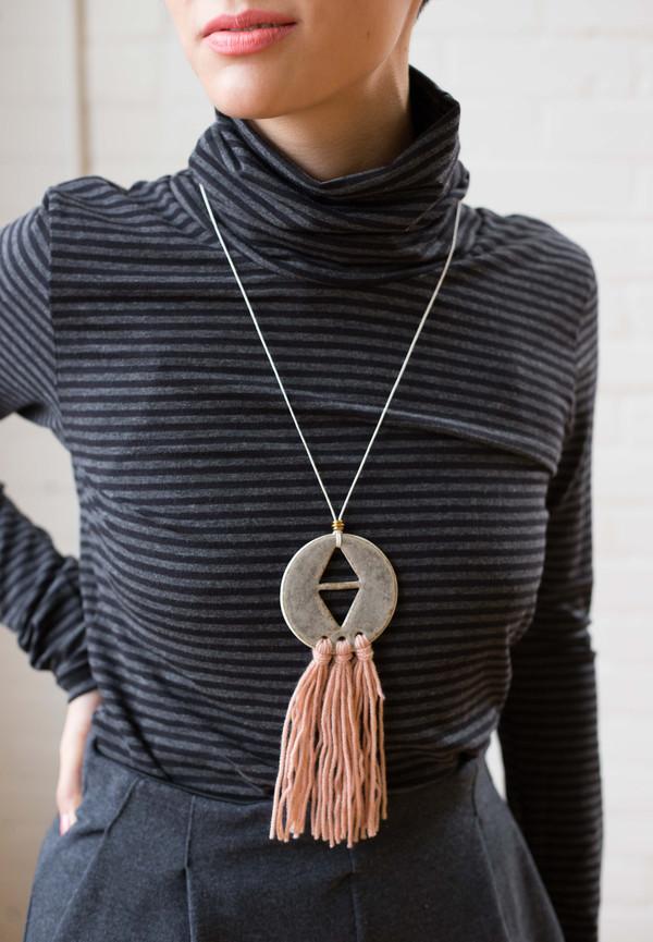 InDreams In Dreams Ceramic Necklace  (Sea Green and Pink)