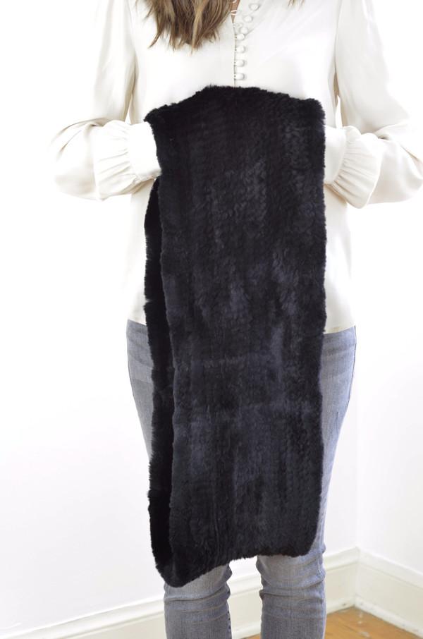 Jocelyn Sheared Rabbit Infinity Scarf - Black