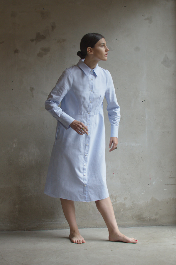UNIFORME Lin Shirt Dress (Azure Blue)