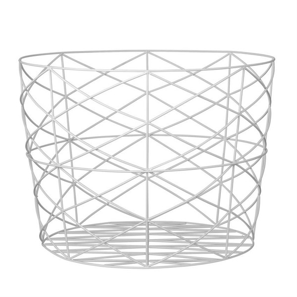 Bloomingville WHITE METAL STORAGE BASKET