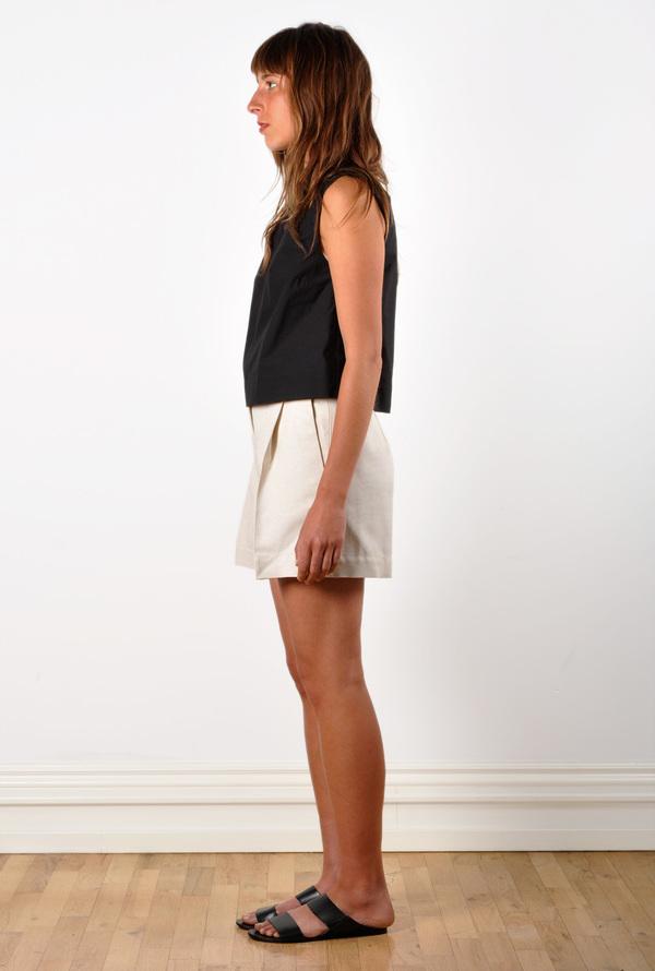 Waltz Wide-Leg Pleated Short in Ivory Textured Raw Silk