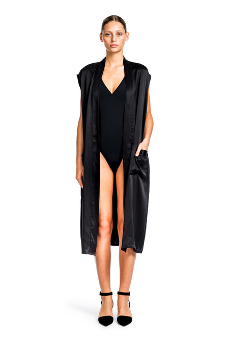 Beth Richards Silk Gilet - Black LONG SILK VEST WITH POCKETS