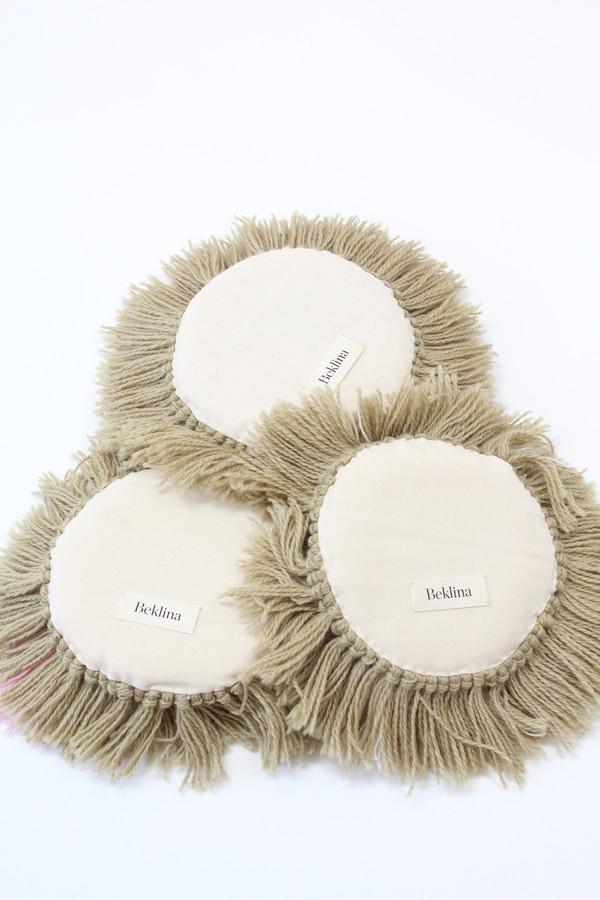 Artist Alpaca Handmade Fringe Pillow Tan & Pink