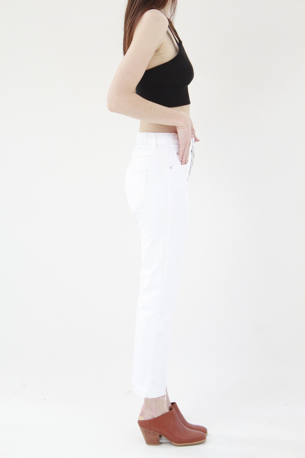 Amo Denim Babe Cropped Sea Salt White Jeans