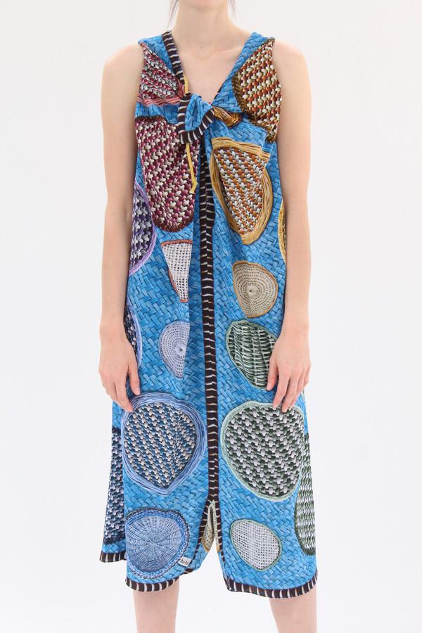 Hui Hui Silk Overall Dress Blue Basket Print