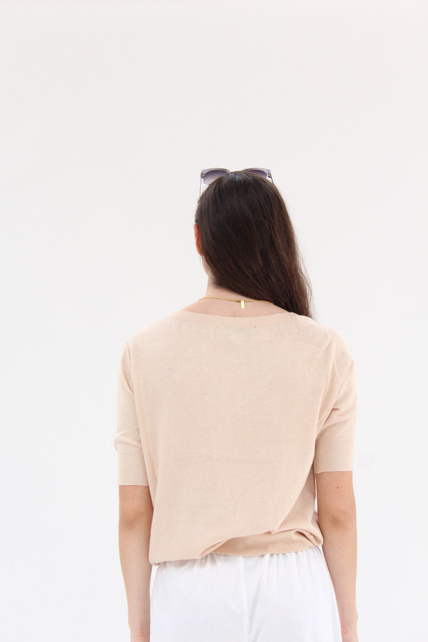 Beklina Cotton Knit Top Cashew