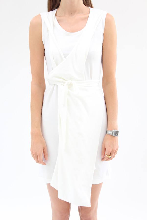 Beklina Criss Cross Jersey Wrap Dress White