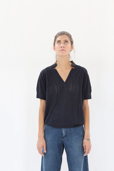Rachel Comey Knit Polo Navy