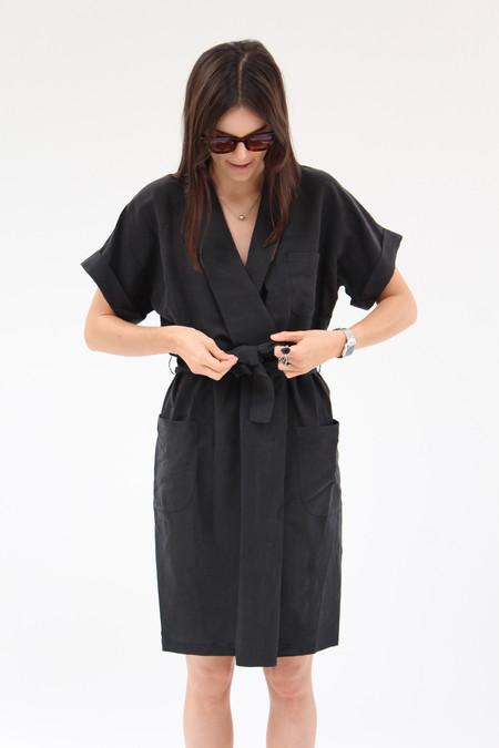 Yasmin Raquel Kimono Tie Dress Black