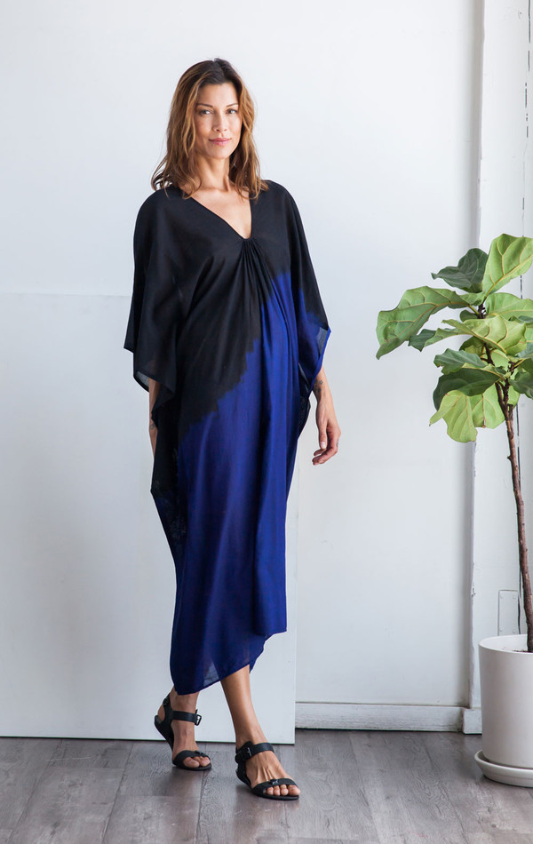 Two New York Black with Blue degrade ikat caftan