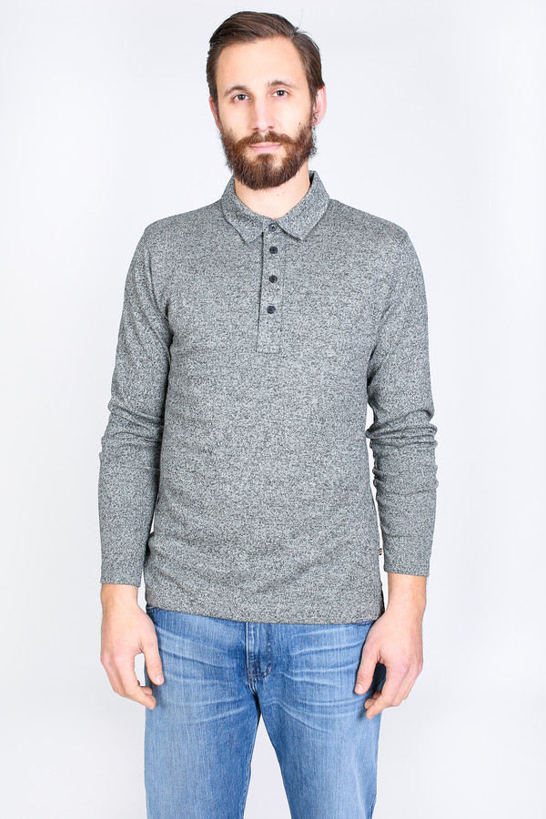 Men's Billy Reid Smith Long Sleeve Polo in Natural