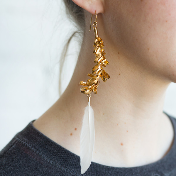 Mirit Weinstock Party Ornament and Feather Single Earring