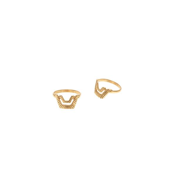 Maria Black Gold Stripe Ring