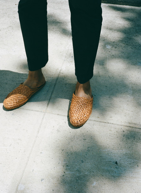 Men's Sincerely, Tommy Leather Woven Slides