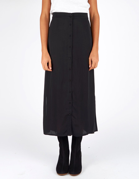 Ali Golden Button Down Skirt Black