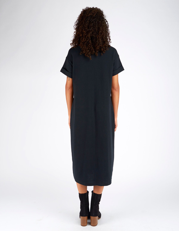 Ali Golden Roll Sleeve T-Shirt Dress Black