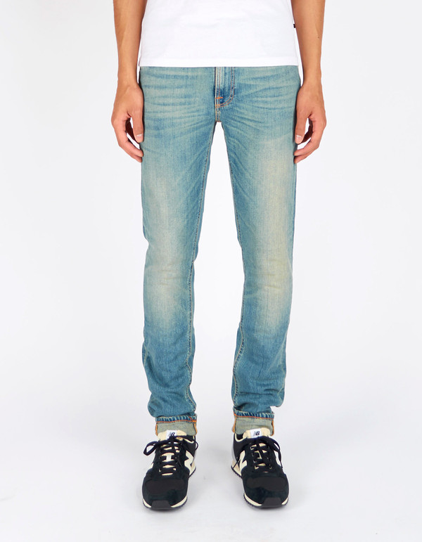 Men's Nudie Lean Dean Silver Lake Washed Indigo