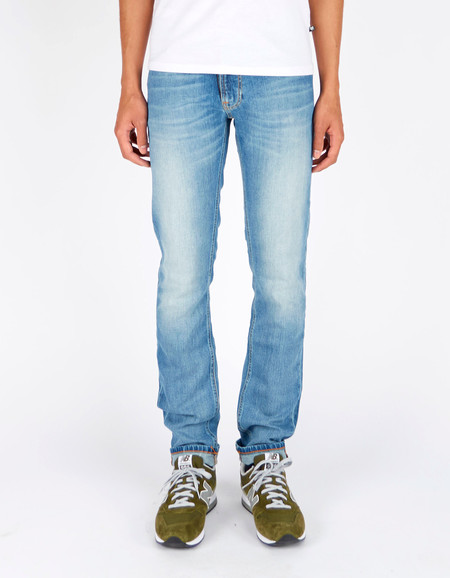 Men's Nudie Thin Finn Clear Contrast Washed Indigo