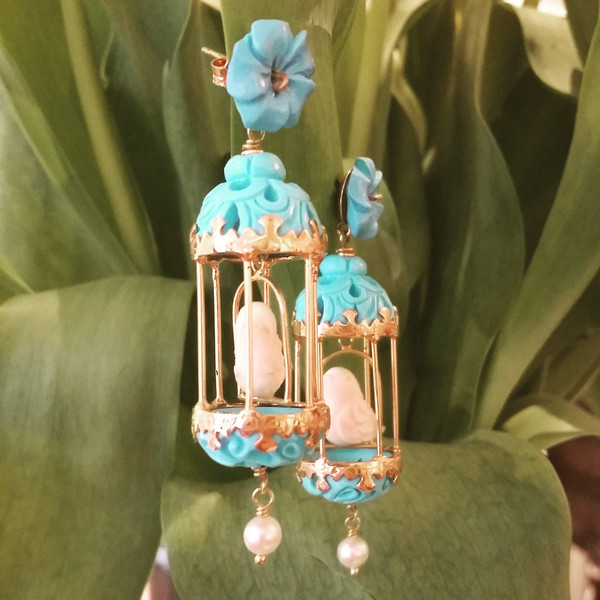 "Of Rare Origin Aviary Bird ""2"" earrings"