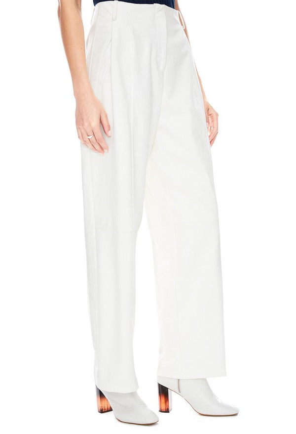 Veda Bess Leather Trouser in White