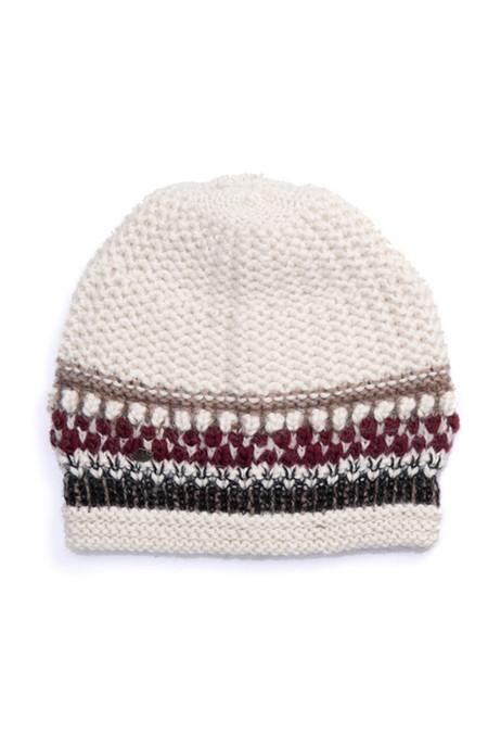 EMILIME Hola Knit Hat White Burgundy