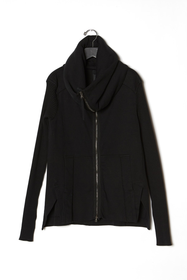 Roque High Neck Ribbed Sleeves Cardigan
