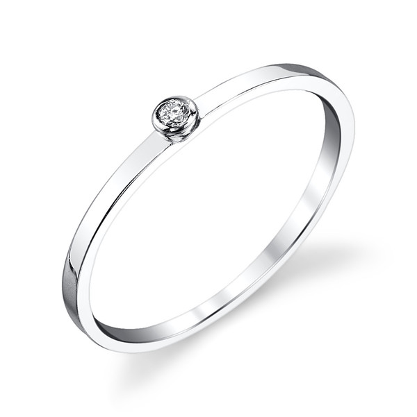 Gabriela Artigas - 14k White Gold with Single Diamond Ring