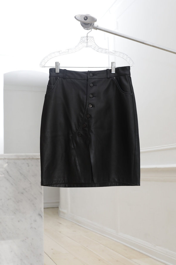Collina Strada Mechanic Skirt Black Leather