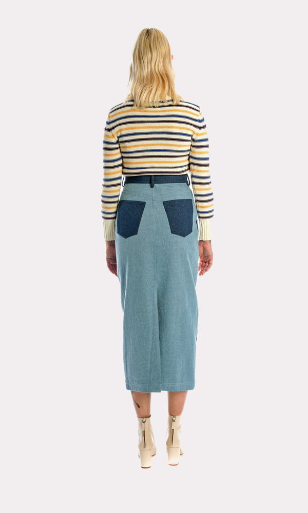 Kurt Lyle Casey Denim Skirt in Competing Denim