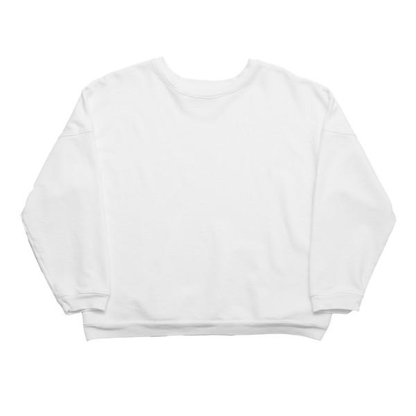Drop Shoulder Crew - White