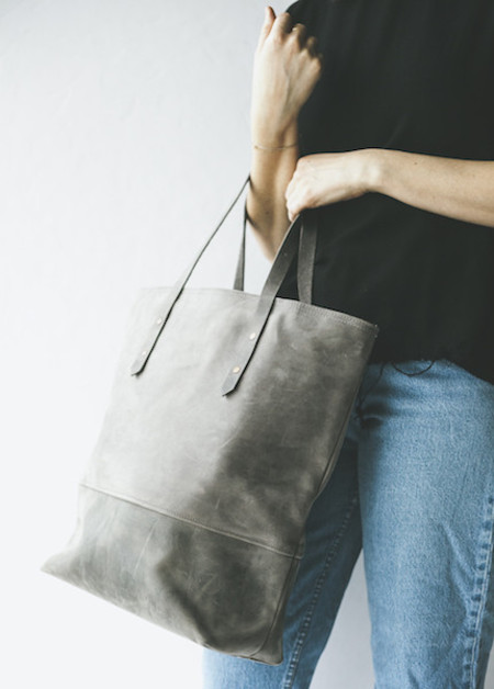 Boutonne Mills Tote in All Leather Grey