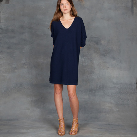 Ali Golden Kimono Sweater Dress in Navy