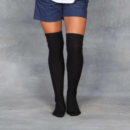Baserange Over the Knee Sock Black Cashmere Silk Blend
