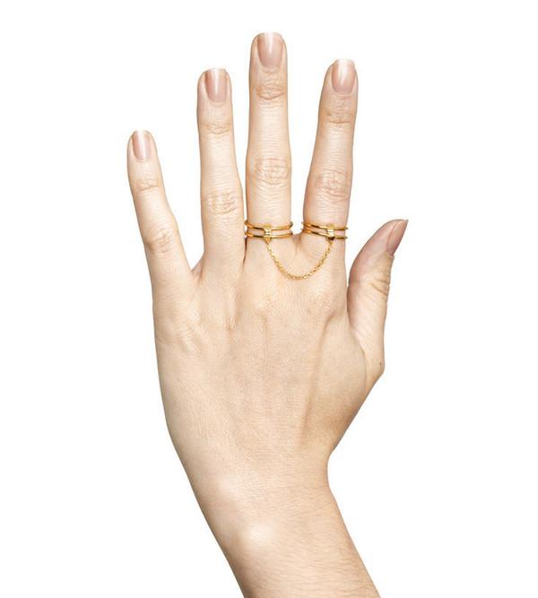Maria Black Matte Gold Quadruple Ring